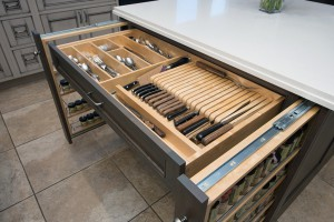 Kitchen Remdodel & Design in Scottsdale, AZ with cabinet filler pullout and knife organization drawer
