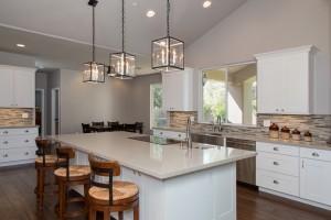 Wood Flooring, Quartz Countertops, White Shaker Cabinets, Kitchen Design & Remodeling in Gilbert, AZ