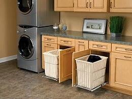 Interior design and remodel of laundry room wtih hamper pull-outs in phoenix, az
