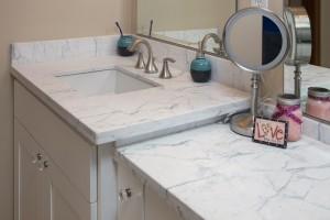 quartz countertops by bathroom remodeling contractor