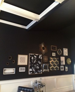 white coffered ceiling black paint gallery wall