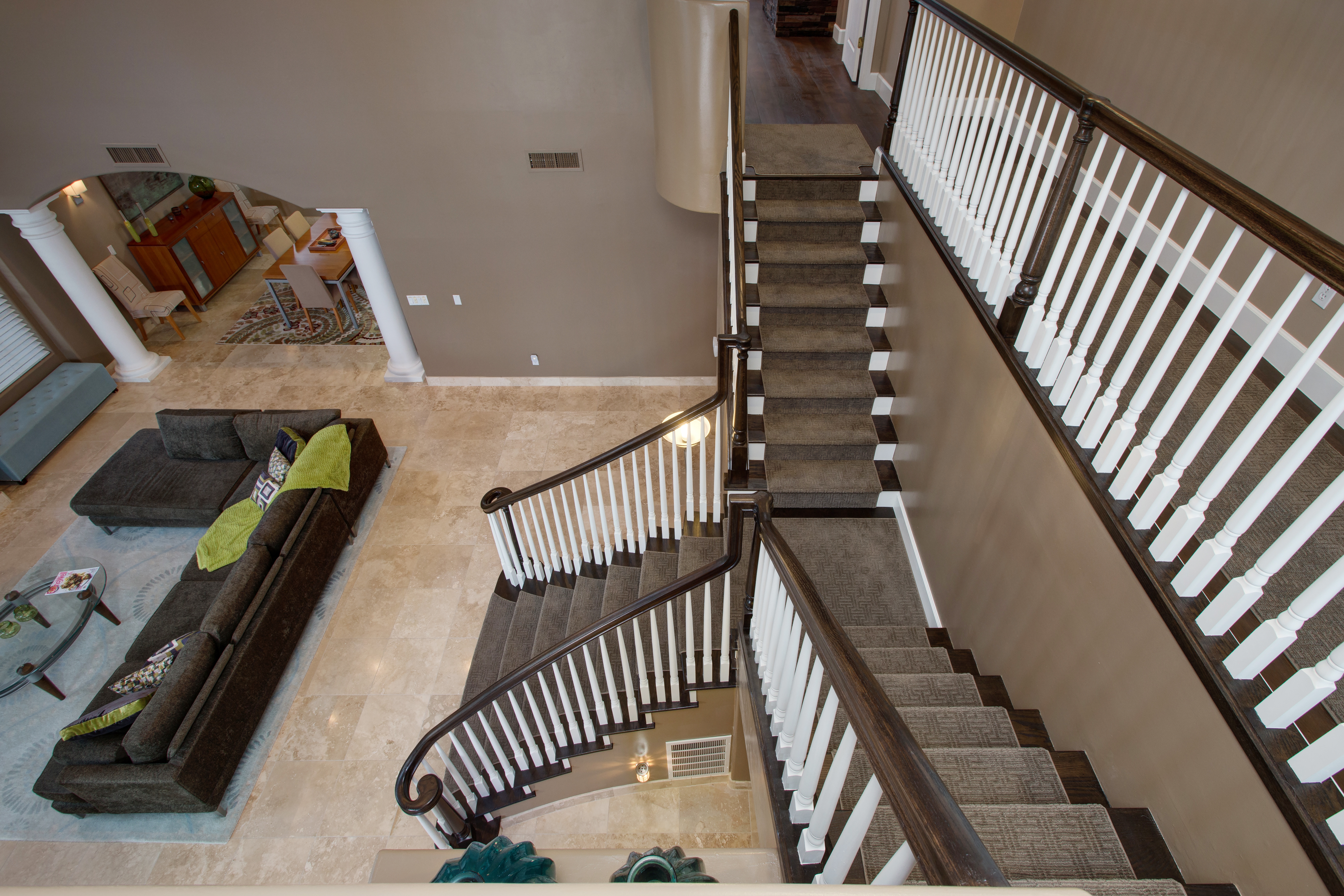 neutral brown staircase by hochuli design and remodeling team in phoenix arizona